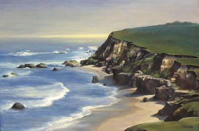 Fog Painting - Coastline Half Moon Bay by Terry Guyer