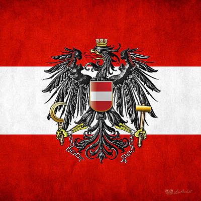 Coat Of Arms And Flag Of Austria Print by Serge Averbukh