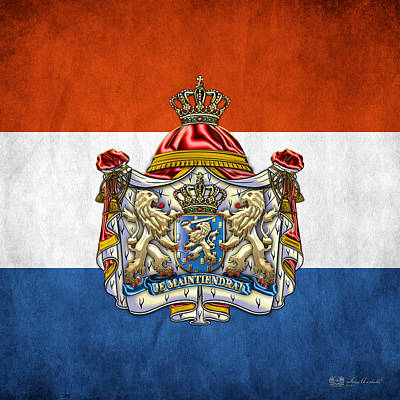 Coat Of Arms And Flag Of Netherlands Print by Serge Averbukh