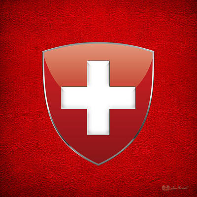 Coat Of Arms And Flag Of Switzerland Print by Serge Averbukh