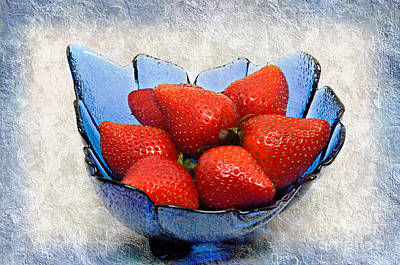 Strawberry Mixed Media - Cobalt Blue Berry Boat by Andee Design
