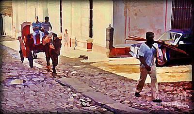 Daily Life Digital Art - Cobble Stone Streets Of Cuba by John Malone