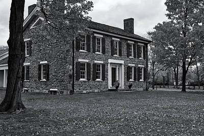 Michigan Farmhouse Photograph - Cobblestone Farm In Fall-bw by Rachel Cohen