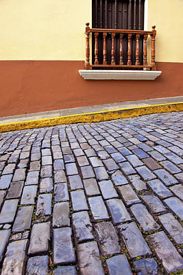 Cobblestone Street And Building Balcony Print by Brian Jannsen