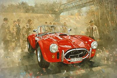 Motor Racing Painting - Cobra At Brooklands by Peter Miller