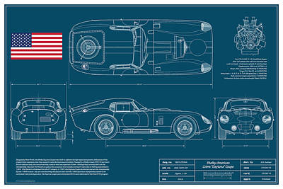 Cobra Digital Art - Cobra Daytona Coupe Blueplanprint by Douglas Switzer