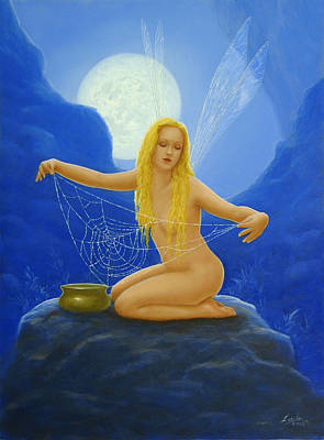 Cobwebs Painting - Cobweb The Dew Collector by John Silver