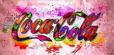 Coca Cola Signs Painting - Coca-cola Grunge by Daniel Janda