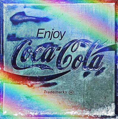 Weathered Coca Cola Sign Photograph - Coca Cola Rainbow by John Stephens