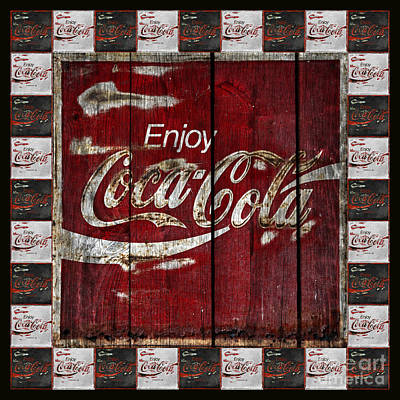 Coca Cola Sign With Little Cokes Border Print by John Stephens