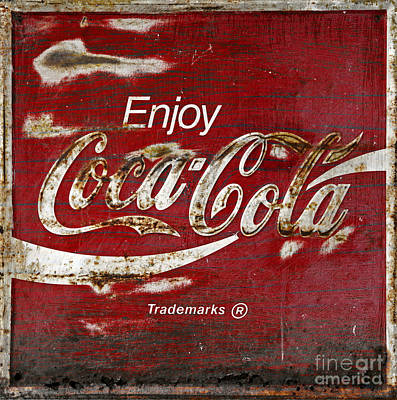 Coca Cola Wood Grunge Sign Print by John Stephens