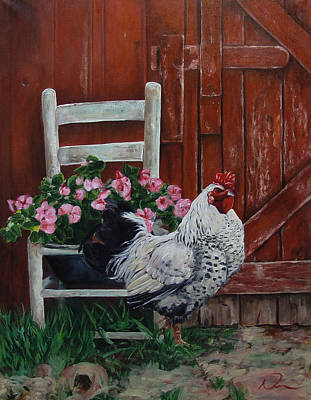 Rooster Painting - Cock Of The Walk by David Derr