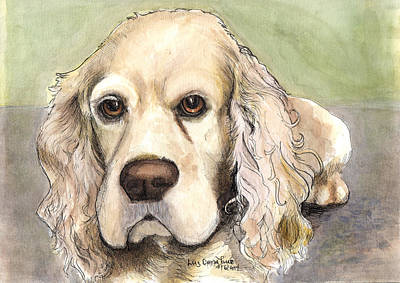Cocker Spaniel Painting - Cocker Spaniel Ink Watercolor  by Luz Donahue
