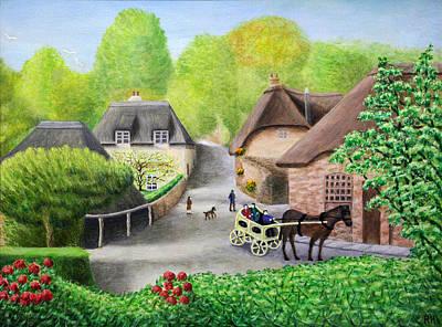 Village Painting - Cockington Village - Torquay by Ronald Haber