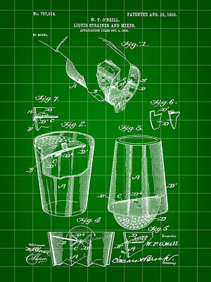 Cocktail Mixer And Strainer Patent 1902 - Green Print by Stephen Younts
