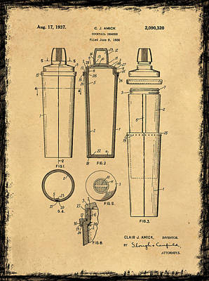 Cocktail Shaker Patent 1937 Print by Mark Rogan