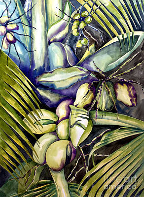 Watercolor Painting - Coconuts by Kandyce Waltensperger