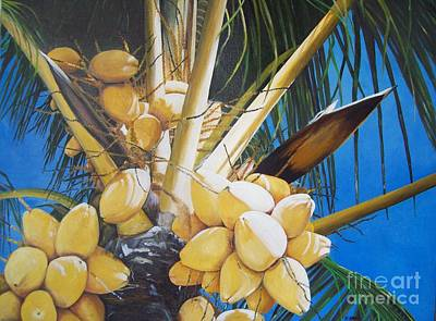 Jamaican Art Painting - Coconuts by Kenneth Harris