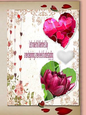 Code Mixed Media - Code Of Love Card by Debra     Vatalaro