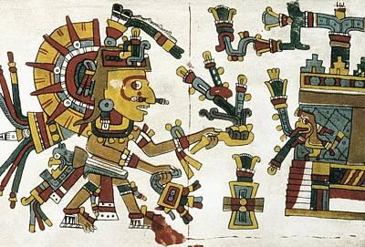 Precolumbian Photograph - Codex Cospi. Circa 15th C. God by Everett