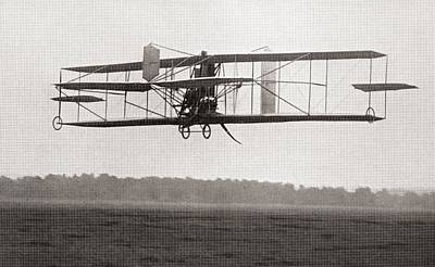 Airplane Photograph - Codys Biplane In The Air In 1909 by American School