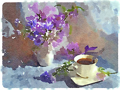 Coffee And Flowers Print by Yury Malkov