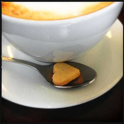 Coffee And Heart Shaped Cookie Print by Matthias Hauser