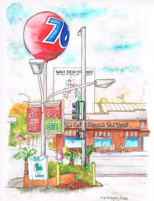 The Coffee Bean And 76 Gas Station In Westwood - California Print by Carlos G Groppa