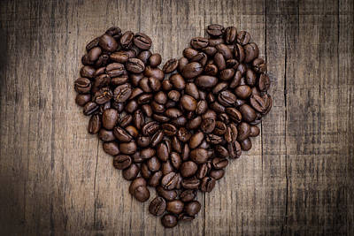 Coffee Bean Heart Print by Aged Pixel