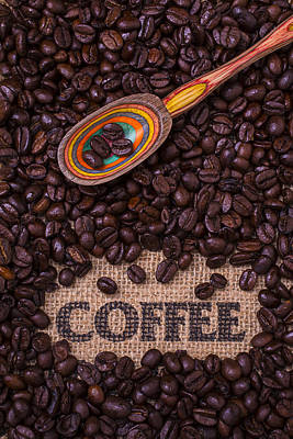 Coffee Beans With Spoon Print by Garry Gay