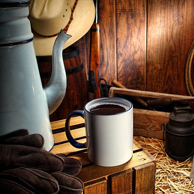 Working Cowboy Photograph - Coffee Break At The Chuck Wagon by American West Decor By Olivier Le Queinec