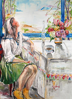 Becky Kim Artist Painting - Coffee Break by Becky Kim