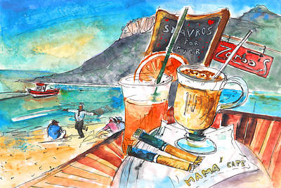 Coffee Break In Stavros In Crete Print by Miki De Goodaboom