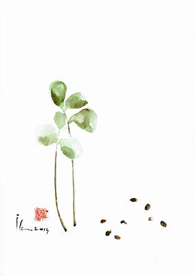 Coffee Cafe Plant And Beans Brown Green Watercolor Painting Kitchen Art Print by Mariusz Szmerdt