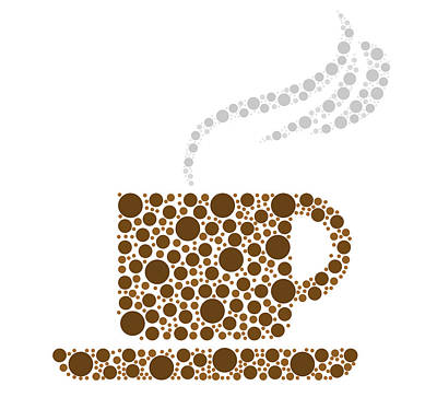 Dot Drawing - Coffee Cup by Aged Pixel