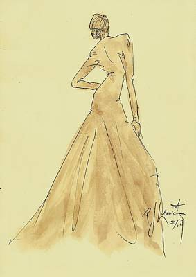 Fashion Design Drawing - Coffee Dress by P J Lewis