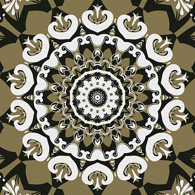 Coffee Flowers 10 Olive Ornate Medallion Print by Angelina Vick