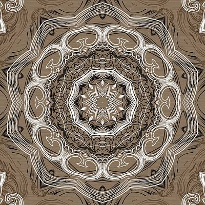 Coffee Flowers 2 Ornate Medallion Print by Angelina Vick