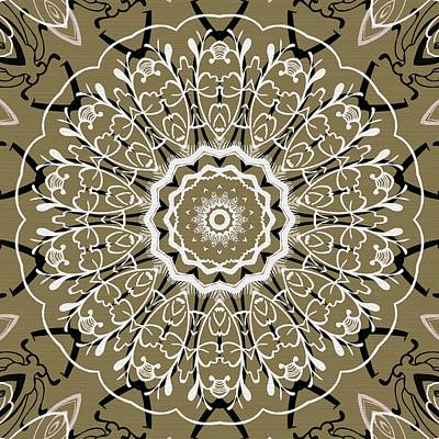 Rose Digital Art - Coffee Flowers 5 Olive Ornate Medallion by Angelina Vick