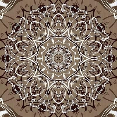 Rose Digital Art - Coffee Flowers 7 Ornate Medallion by Angelina Vick