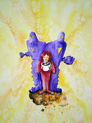 Coffee Girl With Robots Original by Jay Larsen