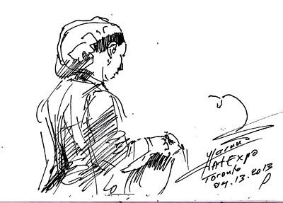 Sketch Drawing - Coffee Lady by Ylli Haruni