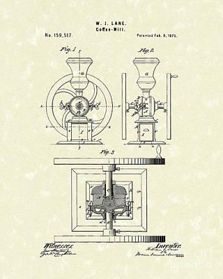 Coffee Mill 1875 Patent Art Print by Prior Art Design