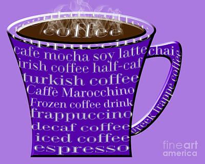 Coffee Mug Purple Typography Print by Andee Design