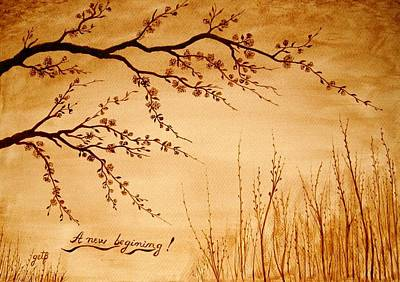 Cherry Blossoms Painting - Coffee Painting Cherry Blossoms by Georgeta  Blanaru