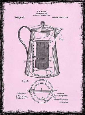 Coffee Percolator Patent 1910 Print by Mark Rogan