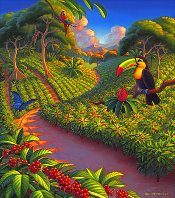 Costa Painting - Coffee Plantation by Robin Moline