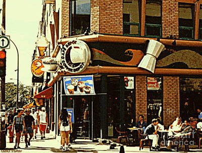 Coffee Shop Ice Cream Parlor Cafe Depot St.laurent And Prince Arthur Summer Montreal Cafe Scene Print by Carole Spandau