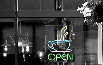 Coffeehouse Photograph - Coffeehouse Open Neon Sign by Dan Sproul