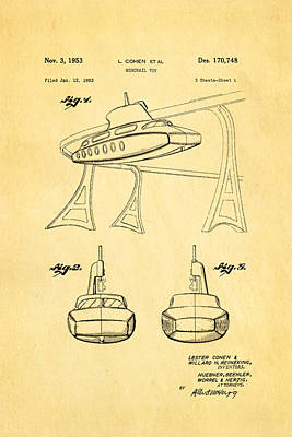 Cohen Monorail Toy Patent Art 1953 Print by Ian Monk